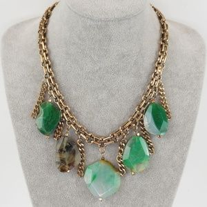 Jewelry - Green Chrysoprase Natural Stone Gold Tone Necklace